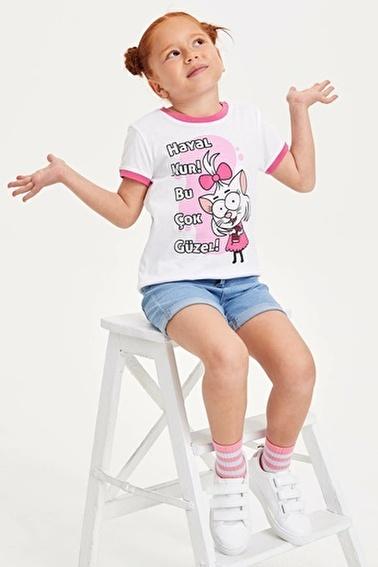 DeFacto Kral Şakir Lisanslı Kısa Kollu Kız Çocuk T-shirt Beyaz